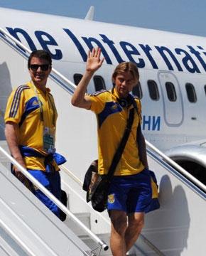 Евро-2012. Сборая Украины прилетела в Донецк (фото)